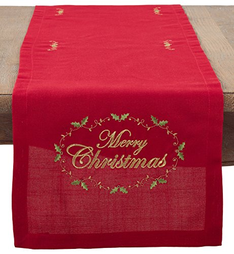 SARO LIFESTYLE Merry Christmas Embroidered Design Table Runner/0141.R1490B, 14'' x 90'', Red by SARO LIFESTYLE
