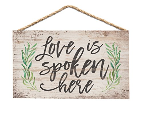 P. Graham Dunn Love is Spoken Here Greenery Whitewash 6 x 3.5 Wood Mini Wall Hanging Plaque Sign