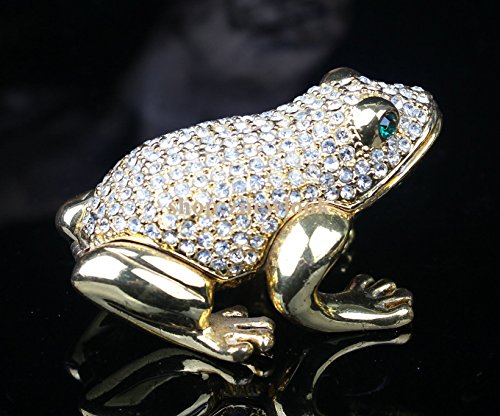 Enamel Jeweled Glass Box - Crystals Studded Frog Jeweled Trinket Box from Shop Znewlook (Silver Crystal)