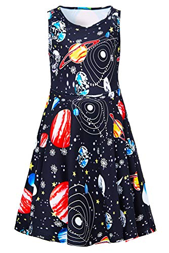 Big Girls Space Dresses Black Red Blue Yellow Planets Fairy 8t 9t Kawaii Floral Print Pretty Nice Ruffle Twirling Overalls Frock Dress Belle Princess Formal Maxi Midi Shirt Skirt Home Casual Partywear