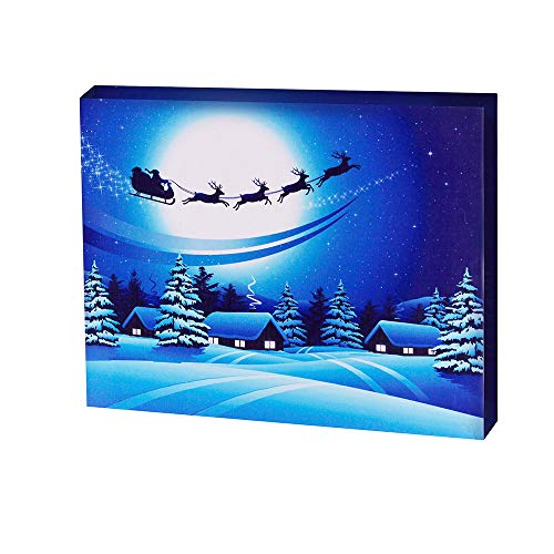 - Christmas Santa Elk Canvas Prints Snowy Winter Light Up Poster Sparkling Canvas Wall Art with Bright LED Lighting 12x16 inch for Home, Living Room, Office or Classroom