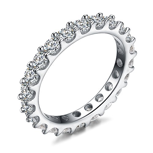 LicLiz Sterling Silver Round Cubic Zirconia All Around CZ Eternity Wedding Band Ring 3mm Size 8