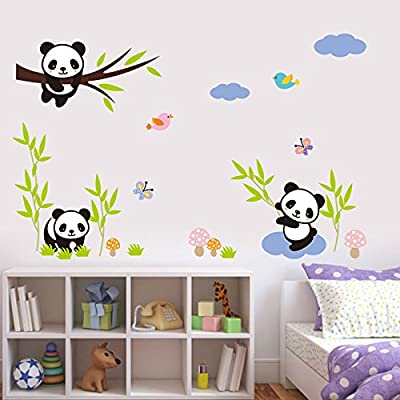 Home Find 3 Cute Little Pandas with Bamboo Decals Removable Vinyl DIY Art Murals Decor Stickers for Kids Children Nursery Rooms Home Decor: Home & Kitchen