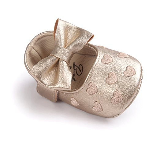 Itaar Baby Girl Moccasins Bow PU Leather Heart Embroidered Soft Soled Shoes for Infants Toddlers
