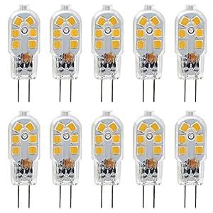 KINDEEP G4 LED Bulb, Bi-Pin Base, 20W Halogen Bulb Equivalent, AC/DC 12 Volt, Warm White 3000K, 10-Pack