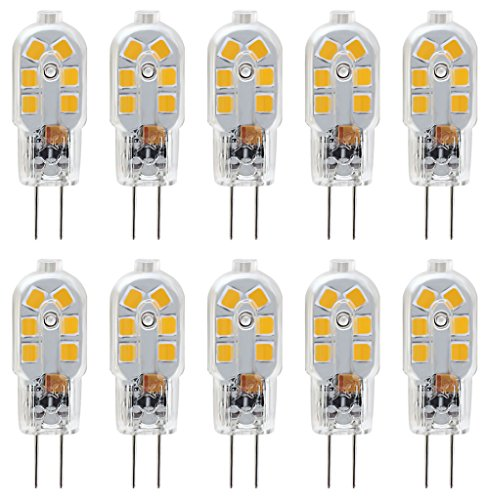 KINDEEP G4 LED Bulb, Bi-Pin Base, 20W Halogen Bulb Equivalent, AC/DC 12 Volt, Warm White 3000K, 10-Pack