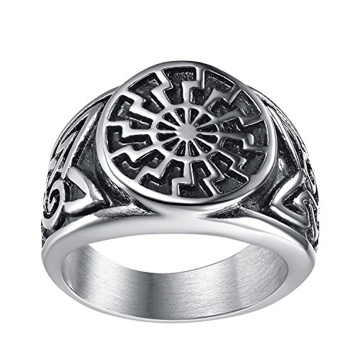 LineAve Men's Stainless Steel Sun Star Celtic Knot Ring, Size 8, -