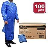 SAFE HANDLER Peva Apron, Polyethylene Vinyl Acetate | Open Back for Easy Removal, Waterproof and Disposable, BLUE (Case of 100)