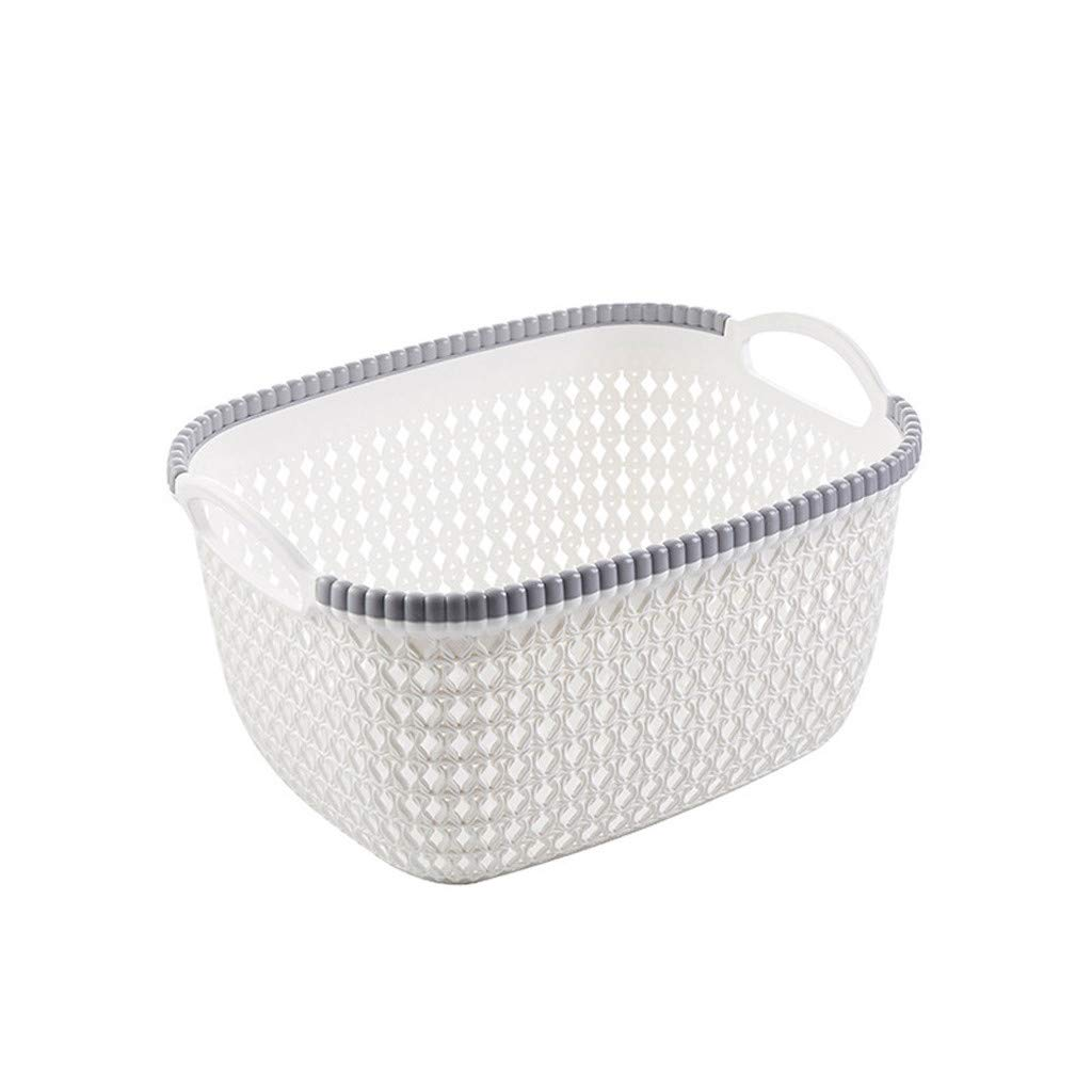 Onegirl Woven Storage Basket for Toy Book Clothes Storage,26cm x 20cm x 14cm,Office Plastic Storage Basket Desktop Finishing Box Cosmetics Debris Case For Bags, Kitchenr,Laundry,Office (White)