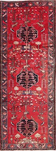 Nahavand Wool Vintage Handmade Persian Red Oriental Traditional Runner Rug 10 ft (9' 9
