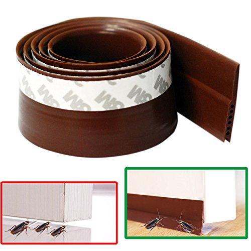 Brown Door Sweep (Door Bottom Draft Stoppers , Ansoon 3.3 Feet (1M) Self Adhesive Silicone Door Sweep Rubber Weatherproof Door Seal (Brown))