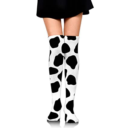 d8ec88b91 Amazon.com  MFMAKER Women Girls Over Knee Thigh Socks High Thigh Stockings  High Boot Thigh Black White Milk Cow Print Socks for Daily Wear  Home    Kitchen