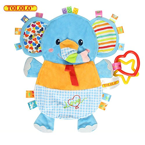 Price comparison product image TOLOLO Cartoon Animals Plush Toys Baby Sleeping Toys Newborn Children to Appease Towel Cloth Can Bite (Elephant)