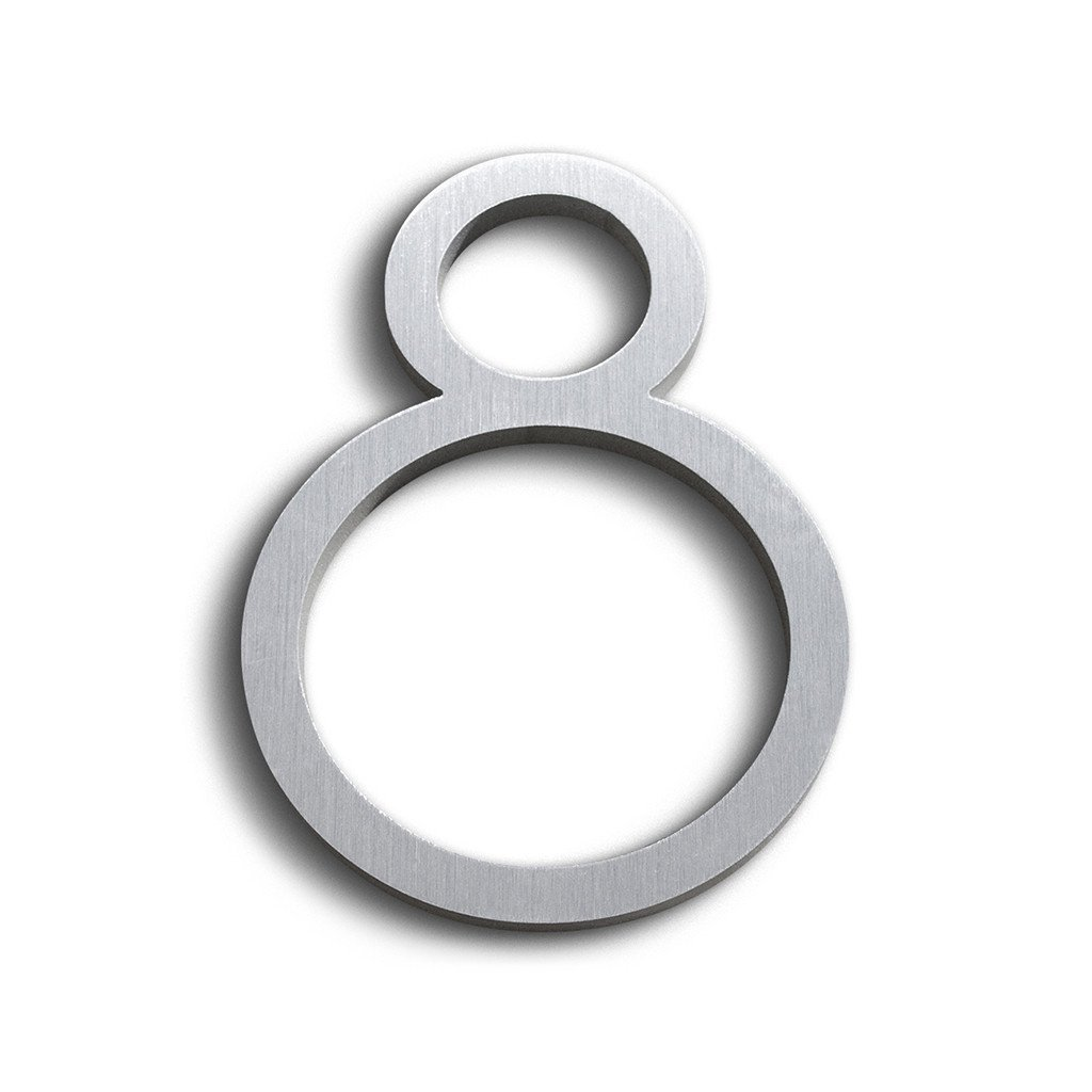 Contemporary Font House Number Aluminum Number Eight ''8'' - 6 inch