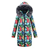 HHei_K Womens Winter Warm Long Cotton-Padded Zipper Parka Fur Hooded Coat Windbreaker Quilted Jacket Outwear
