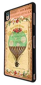 538 - Vintage Shabby Chic Victorian Hot Air Balloon Floral Roses Design For Sony Xperia Z Fashion Trend CASE Back COVER Plastic&Thin Metal