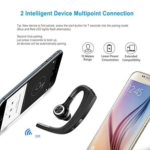 Cuffie bluetooth, wireless cuffie Bluetooth auricolari con microfono muto interruttore vivavoce Bluetooth auricolare per trucker guida compatibile per iPhone Android cellulare [+ Portable Storage Case