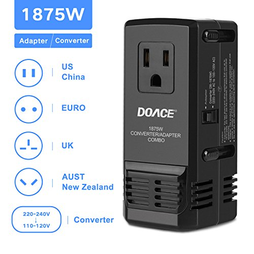 DOACE 1875W Travel Adapter and Voltage Converter Combo,220V to 110V Transformer for Hair Dryers, with International EU/UK/AU/US Wall Charger Adapter Plugs for 150 Countries(Patent Protected)