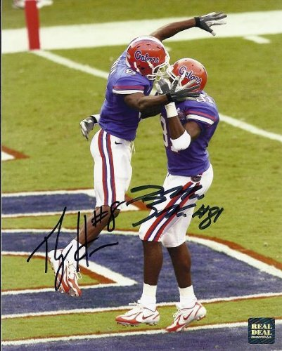 Signed Percy Harvin Photo - 2006 National Championship Dallas Baker Dual 8x10 - PSA/DNA Certified - Autographed College Photos