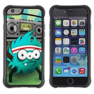 LASTONE PHONE CASE / Suave Silicona Caso Carcasa de Caucho Funda para Apple Iphone 6 / Monster Rock Retro Radio Huge