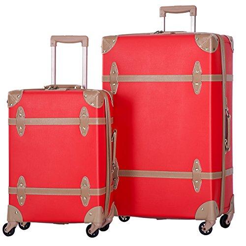 Merax 2 Piece Luggage Set Vintage Suitcase 20inch 28inch with TSA Lock