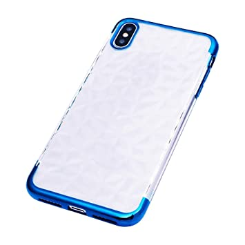 Amazon.com: Voberry Compatible iPhone XS Max 6.5inch Diamond Texture Ultra Slim Plating Shock Bumper Case Cover (Blue): Beauty