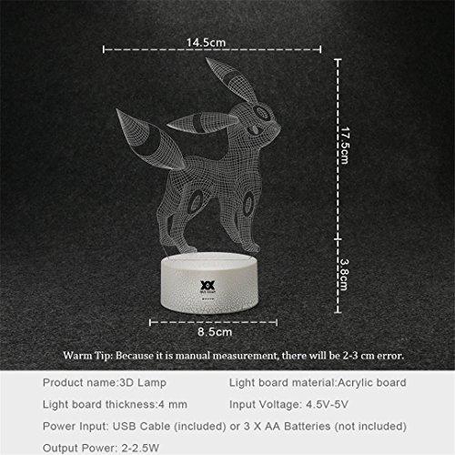 Illusion Usb Visuelle Led Gjhwjff 3d Cartoon Créatifs Pokemon Lampe dCreWBQxo
