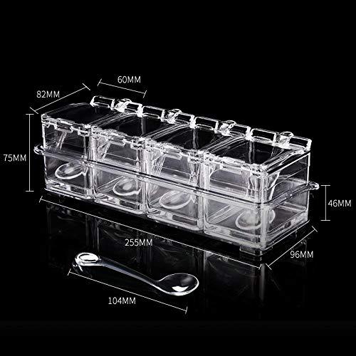- Seasoning Box Kitchen Salt MSG Household Receiving Box, Four-Square Seasoning Box [Four Spoons Without Rings]