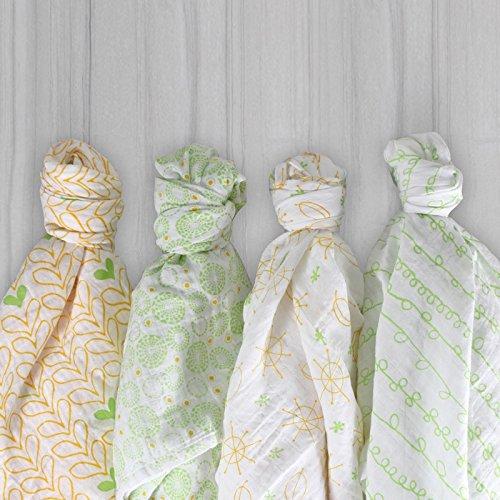 Magnolia Organics 4 Pack Swaddle Blankets - Green/Orange ()
