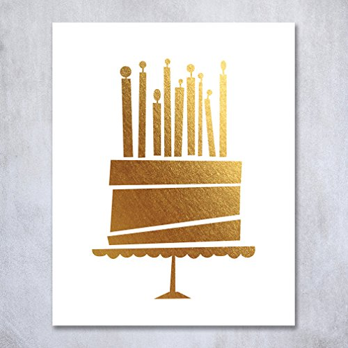 Birthday Cake Gold Foil Art Print Birthday Party Sign Small Poster Party Decor 5 inches x 7 inches A1