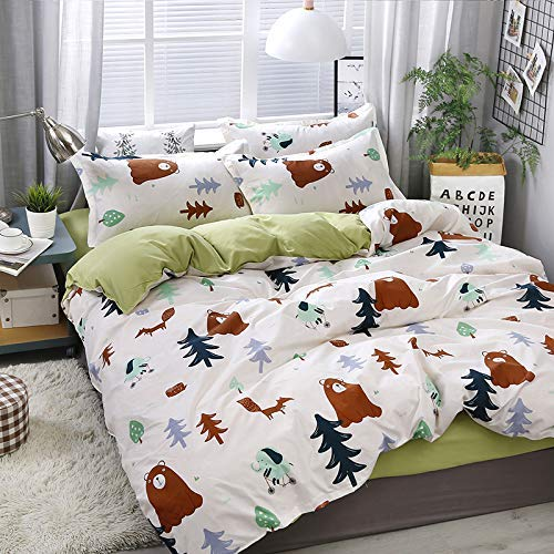 Bear Country Full Comforter - KFZ Bedding Set Full, 3PCS Duvet Cover Set with 1 Comforter Cover (No Comforter Insert), 2 Pillowcases, Bear Fox Elephant Woodland Patterned, Breathable Bed Set for Kids and Teens