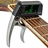 ELEOPTION Professional Guitar Tuner Clip-on Chromatic Tuning for Acoustic Guitar Ukulele Banjo and Mandolin A4 Pitch Calibration 430Hz to 450Hz (Silver)