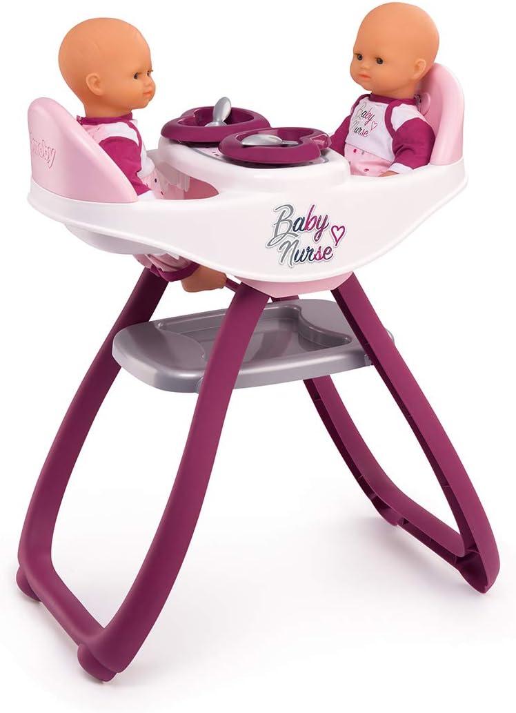 Smoby-Baby Nurse Trona gemelar con Accesorios 220344 muñecos bebé, Color Rosa