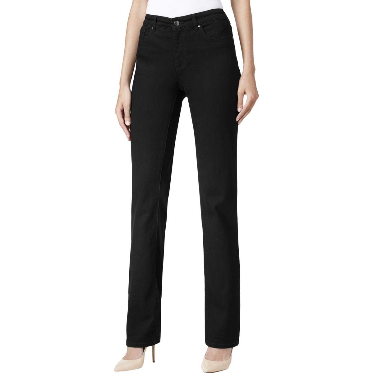 Charter Club Womens Petites Jean Shop Straight Leg Straight Leg Jeans Black 10P