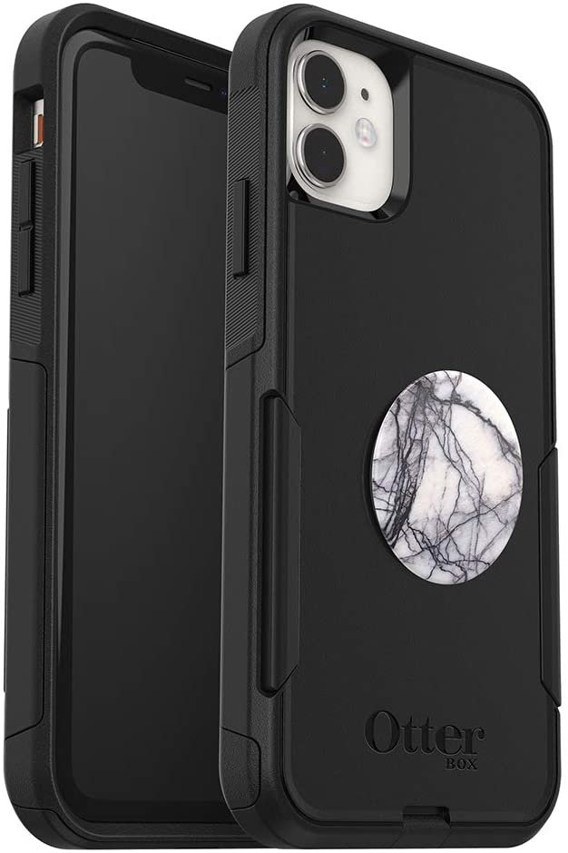 Bundle: OtterBox COMMUTER SERIES Case for iPhone 11 - (BLACK) + PopSockets PopGrip - (WHITE MARBLE)