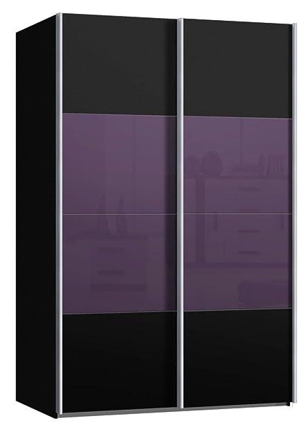 Schwebetürenschrank, Schiebetürenschrank, Ca. 150 Cm, Dekor Schwarz Glas  Brombeer, Kleiderschrank