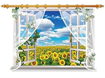 DOPIN 3D Fake Windows Sunflower Wall Stickers Flower Landscape Sea Island Wall Decal Home Sticker Paper Art Picture DIY Murals 6090CM/23.62''35.43''
