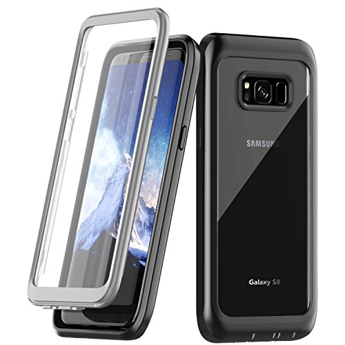 Samsung Galaxy S8 Case, Singdo Built-in Screen Protector Cover 360 Degree Protection Rugged Clear Bumper Case with Kickstand for Samsung Galaxy S8