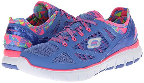 Skechers Skech-Flex Ultimate Reality Azul Rosa Mujeres Botas Trainers