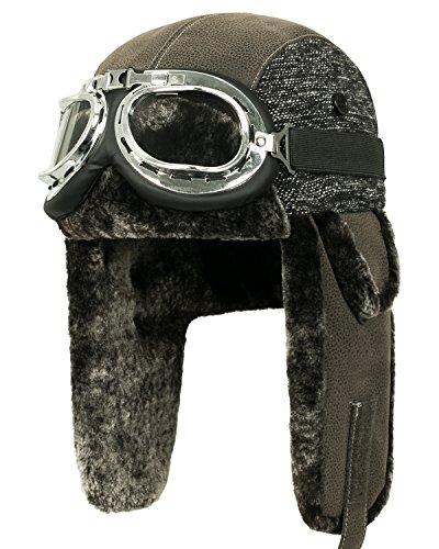 Howels Faux Leather Woolen Patch Aviator Trapper Trooper Faux Fur Ear Flaps Hat (Medium, Brown/Silver)