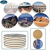 M-Pieces Marble Coasters for Drinks | Featuring 6 of the World's Wonders on Stone | Best Travel Gift Ideas for Men & Women | No Slip & Water Absorbent Modern Beverage Holder for Table Decor | Set of 6