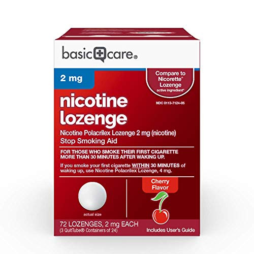 Basic Care Nicotine Lozenge, 2 mg, Cherry, 72 Count