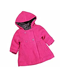 Baby Girl's Fall Winter Pink Hooded Trench Jacket Coat Outerwear