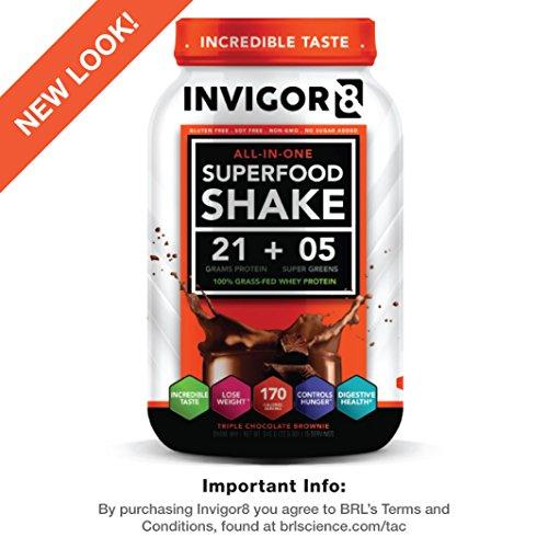 INVIGOR8 - Nutritional Shake & Green Superfood (Triple Chocolate Brownie) 645 Grams