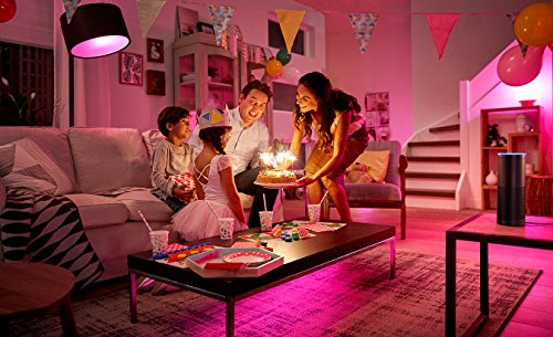 046677456214 - Philips Hue White and Color Ambiance Starter Kit, 3 A19 bulbs and a Bridge (Old Model, 2nd Generation), Works with Amazon Alexa carousel main 3