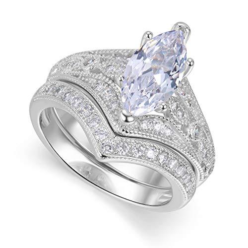 (Lateefah Bridal Ring Sets for Women - 2 Carat Big Marquise Cubic Zirconia Wedding Rings Set Size 6-9)
