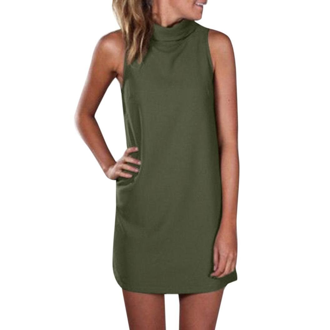 Alixyz Womens Summer Sleeveless Dress High Neck Solid Color Evening Party Mini Dress (M, Army Green)