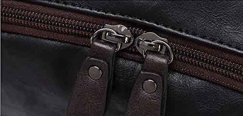 Mefly Mochila de cuero pu de alta calidad Mens hombres negros Vintage casual masculino bolsas de viaje Mochila para portátil,Brown Dark Coffee