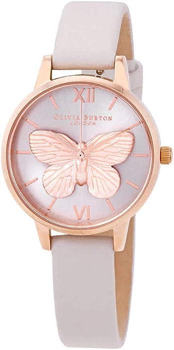 9e61e69fdd9e Amazon.com  Olivia Burton 3D Butterfly Blush Dial Ladies Watch ...