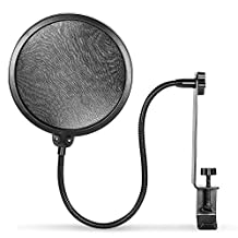"Neewer® Clamp-on Double Mesh Microphone Pop Filter with Flexible Gooseneck, Metal Stabilizing Arm and Swivel Mount, Fits Any Mic Stand or Boom with Diameter up to 1.3""/3.5cm"